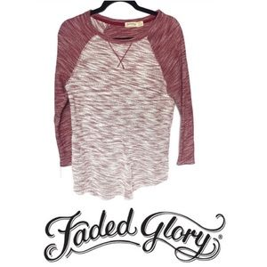 Faded Glory Henley Knit Top Deep Heathered Red EUC